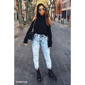 🆕 Black Cold Shoulder Turtleneck Sweater